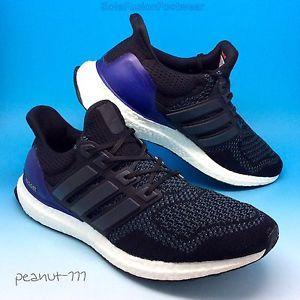 Adidas hombre  ultra impulso corriendo formadores SZ 9 5 negro azul primeknit