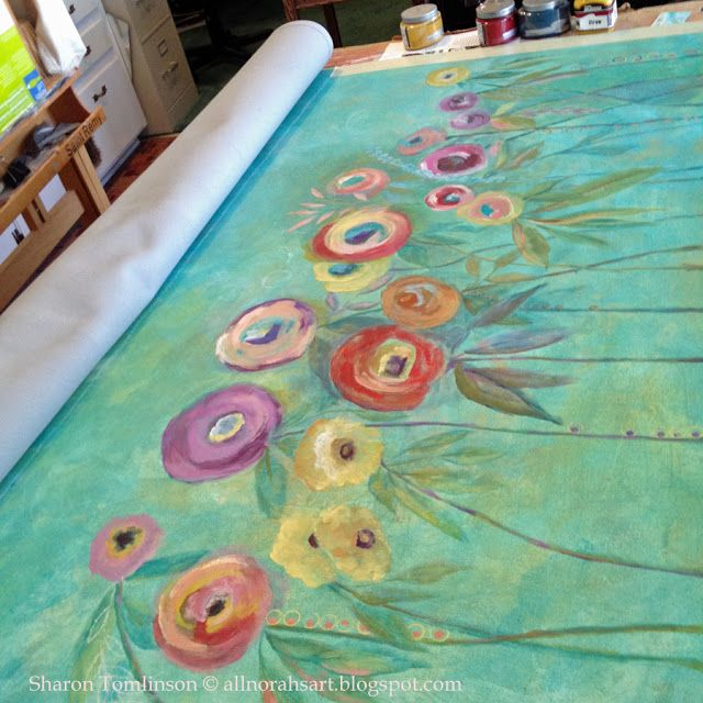 Painted Kitchen Floor Cloth: Painting A Floor Cloth By Sharon Tomlinson, Click Over To
