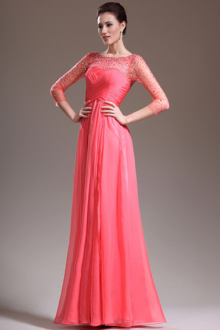 New Arrival 3/4 Length Sleeve A Line Floor Length Prom Dresses ...