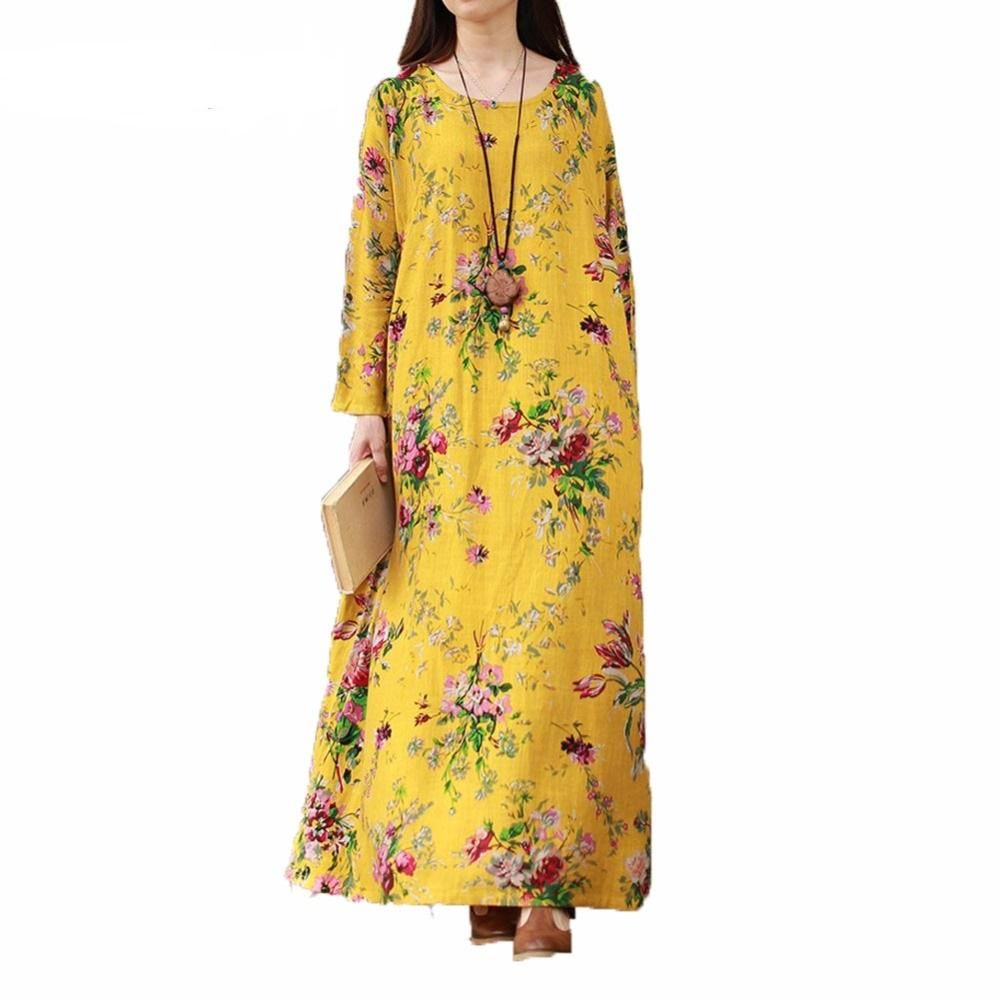 Xxxl xl plus size vintage dress women maxi floral long dress female