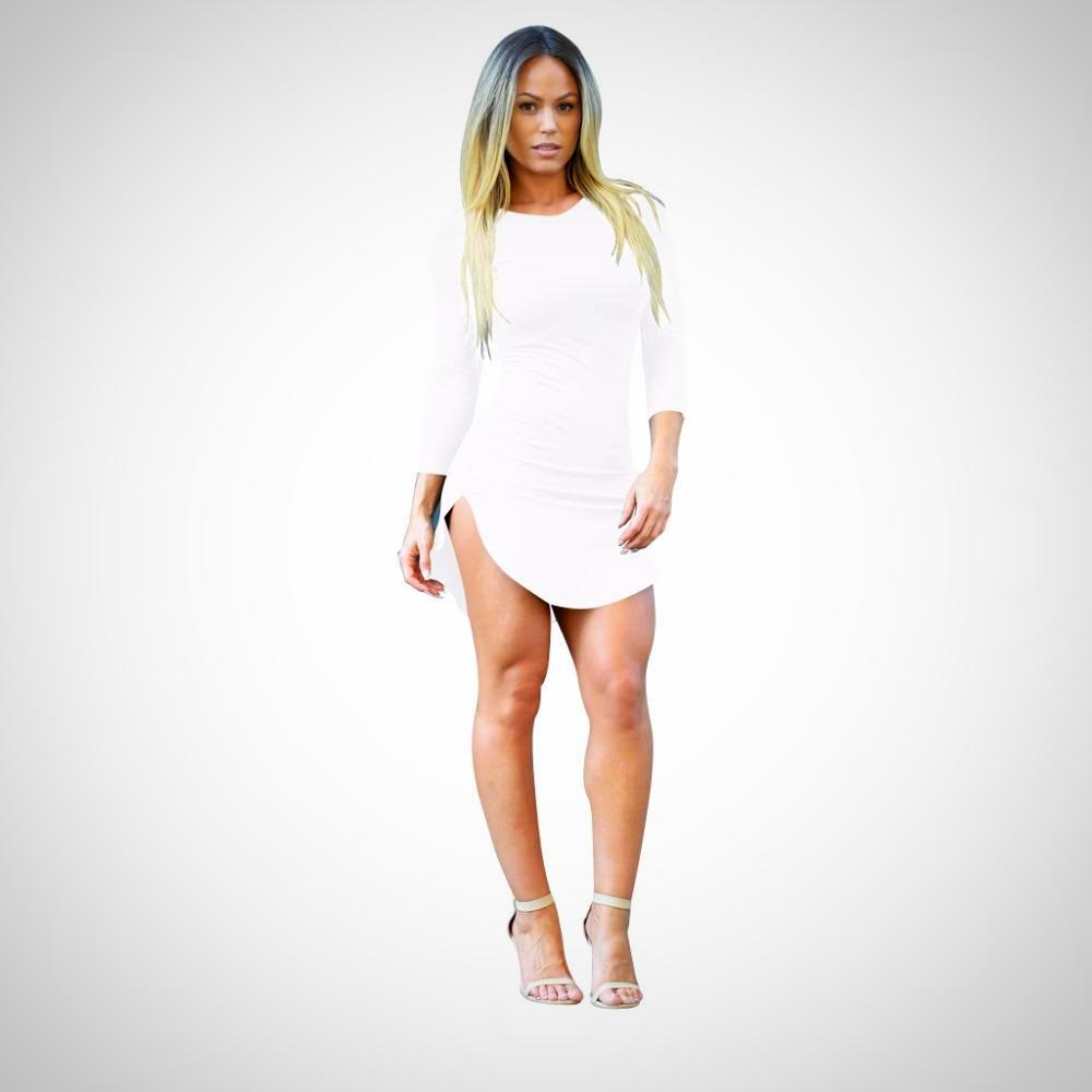 Long sleeve high split mini dress mini dresses and products