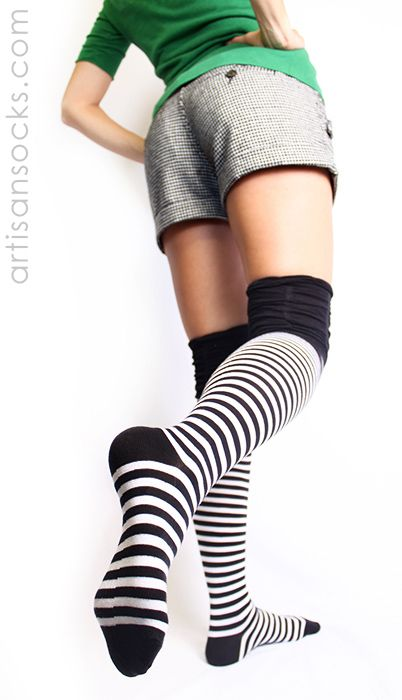 7b8e6684df5 Black and White Striped Thigh High Socks with Ruched Top by K. Bell from Artisan  Socks www.artisansocks.com