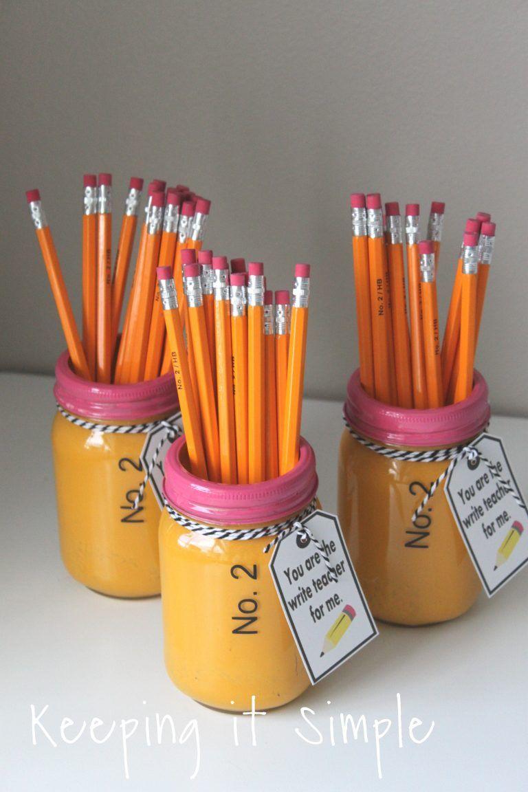 Teacher Gift Ideas- Painted Mason Jar School Supplies Holder • Keeping it Simple
