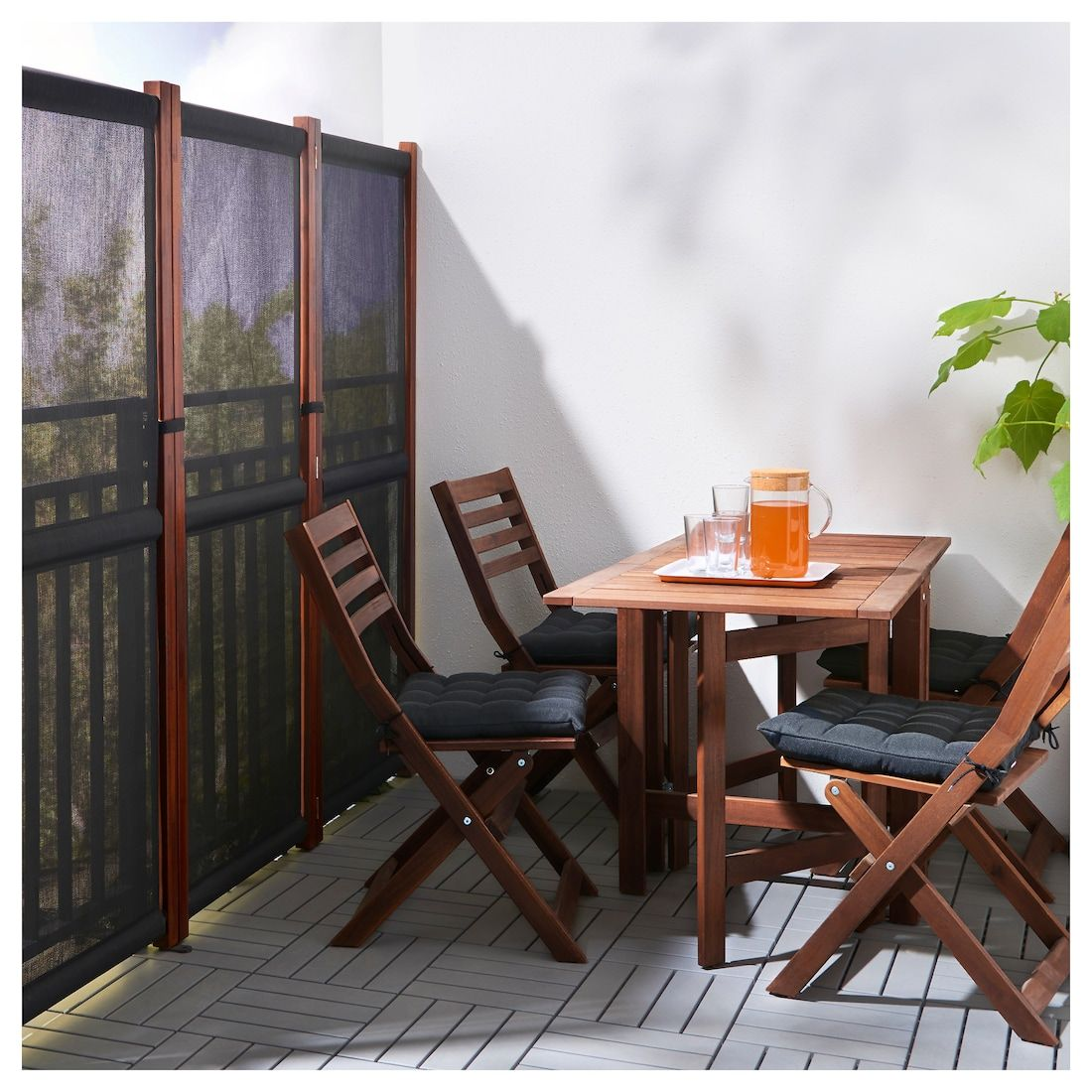 SLÄTTÖ Privacy screen, outdoor black, brown stained
