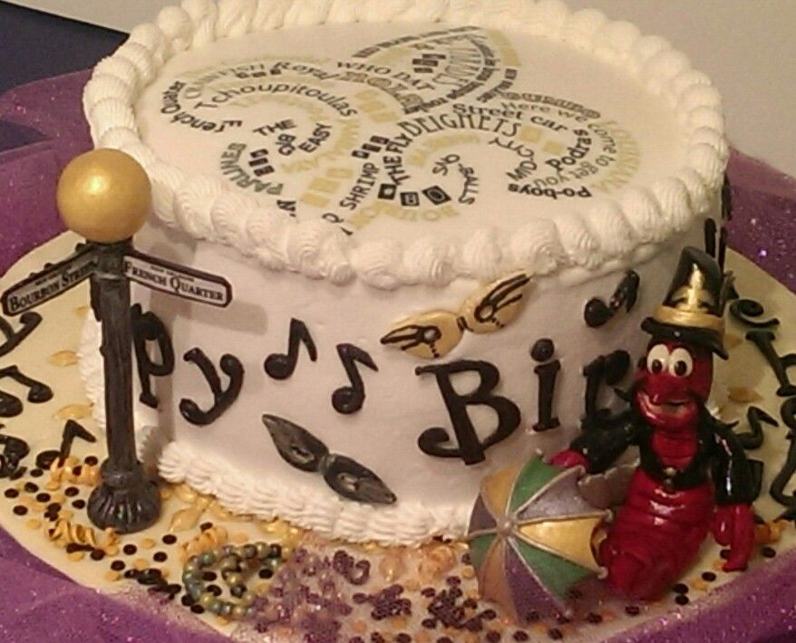 New Orleans Themed Birthday Cake