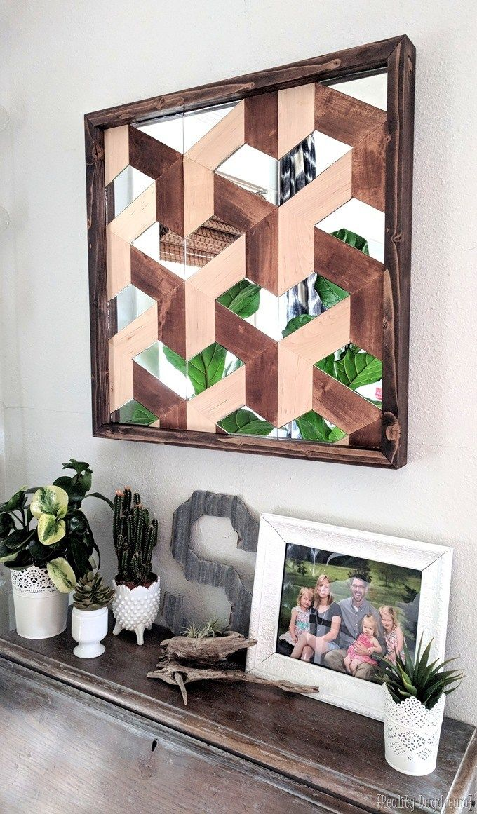 Wood and mirror geometric d wall art reality daydream d wall