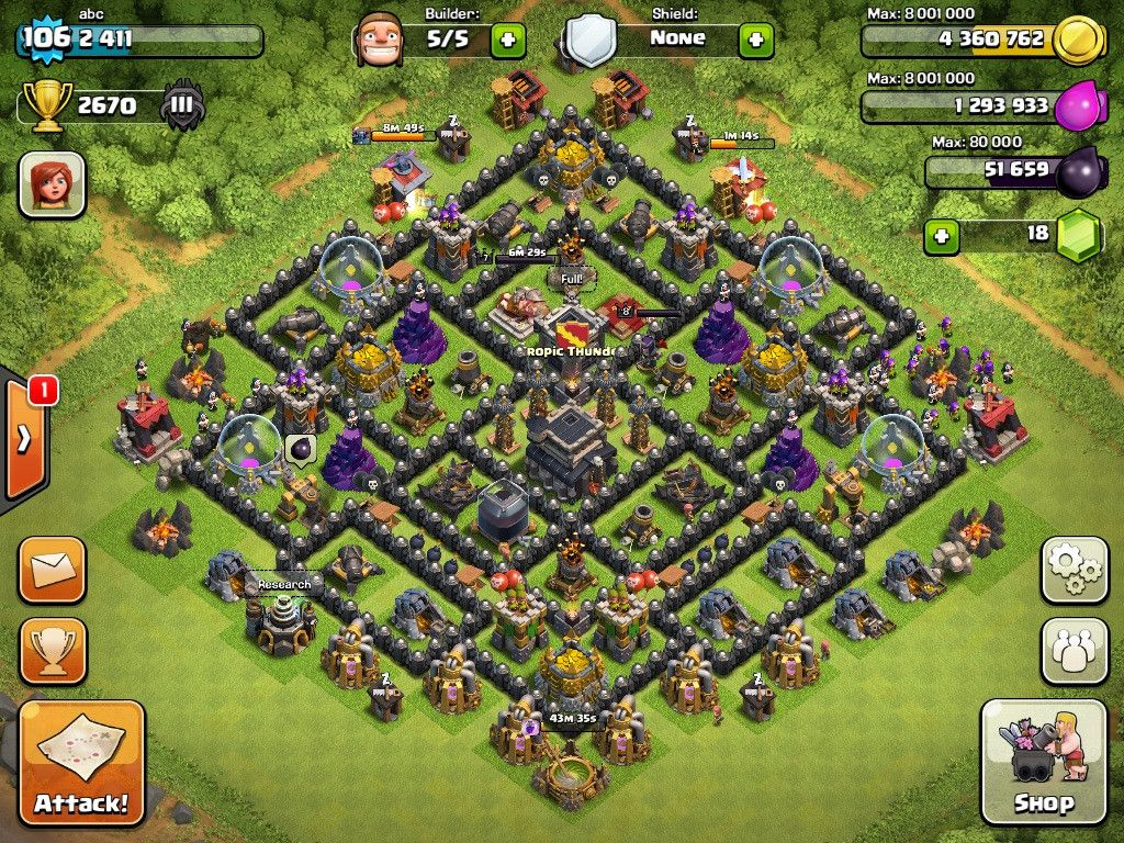 town hall level 9 bases - Google Search
