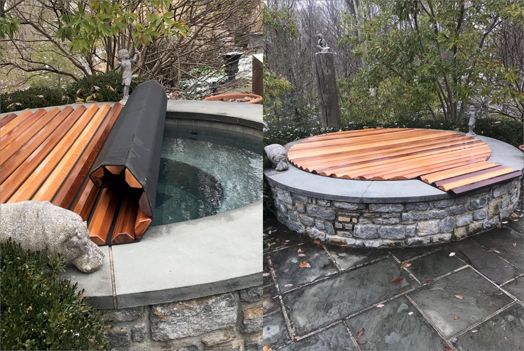 Insulating Structural Cedar Hot Tub Spa Roll Up Cover Cedar Hot Tub Hot Tub Backyard Backyard Layout