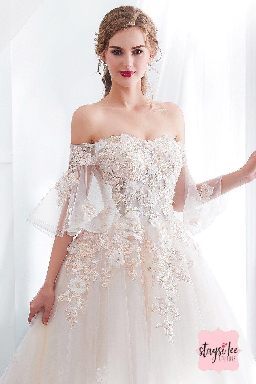 Aus der Schulter-romantisches Hochzeit Kleid -Größen 20 - Spitze
