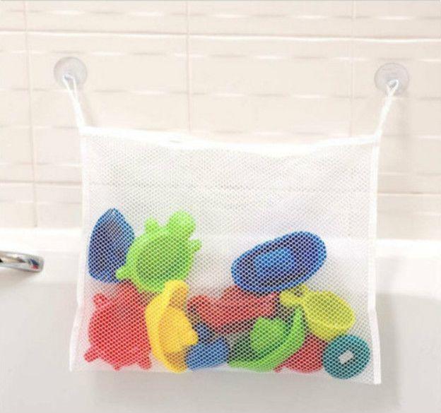 Kreative Falten Umweltfreundliche 35X35 cm Kinder Baby Bad Mesh Tasche Kind Bad Spielzeug Aufbewahrungstasche Veranstalter Net Saug körbe