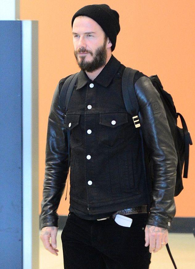 David Beckham Spotted in Belstaff Leather Denim Jacket | David ...