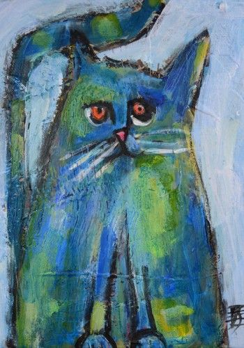 Chubbaloo-modern cat painting on canvas by Joanie Springer