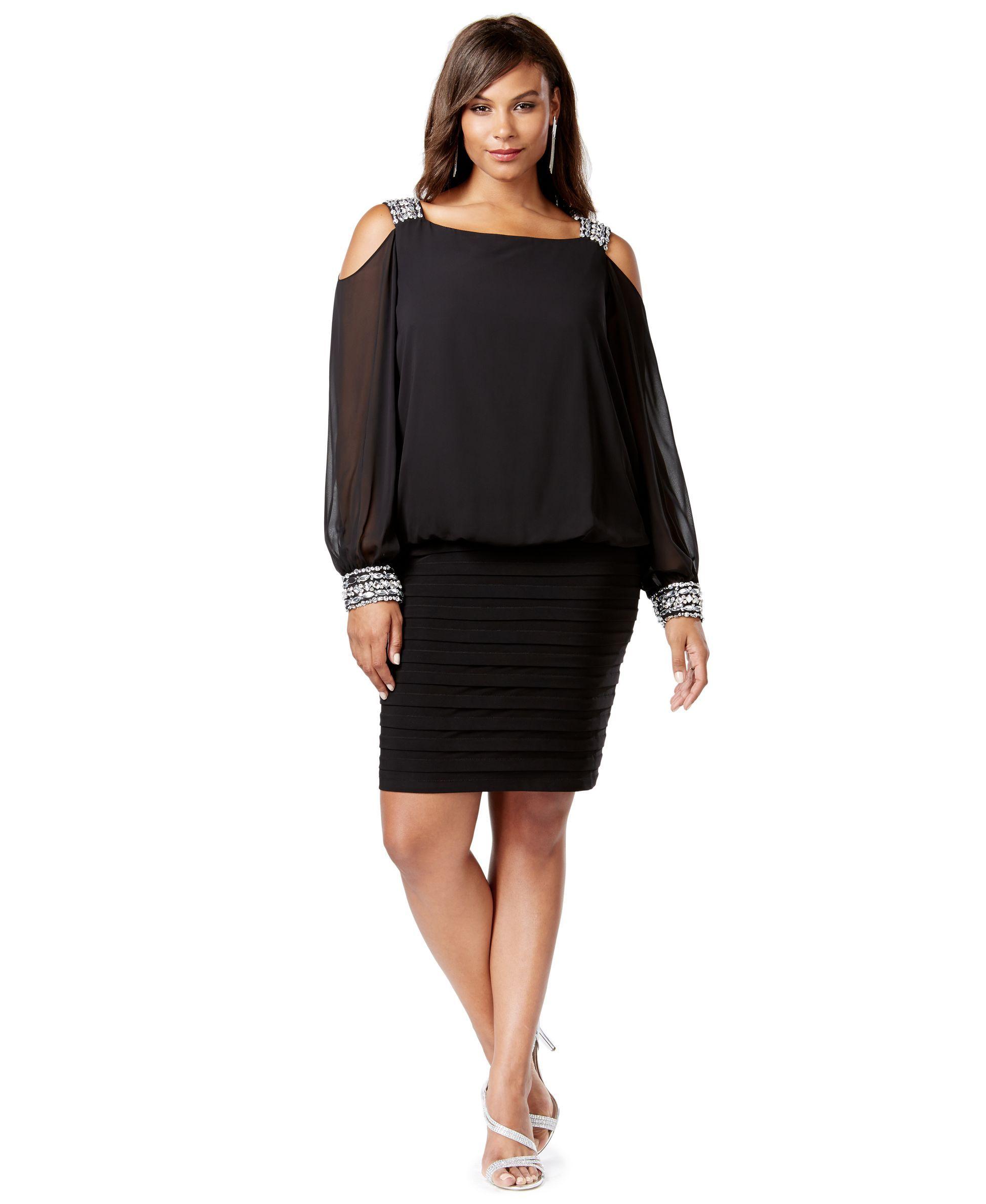 Betsy & Adam Plus Size Cold-Shoulder Embellished Blouson Dress ...