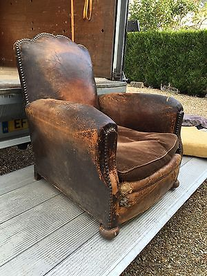Stunning Conker Brown French Leather Antique Vintage Club Chair Leather Decor Shabby Chic Sofa Green Leather Chair