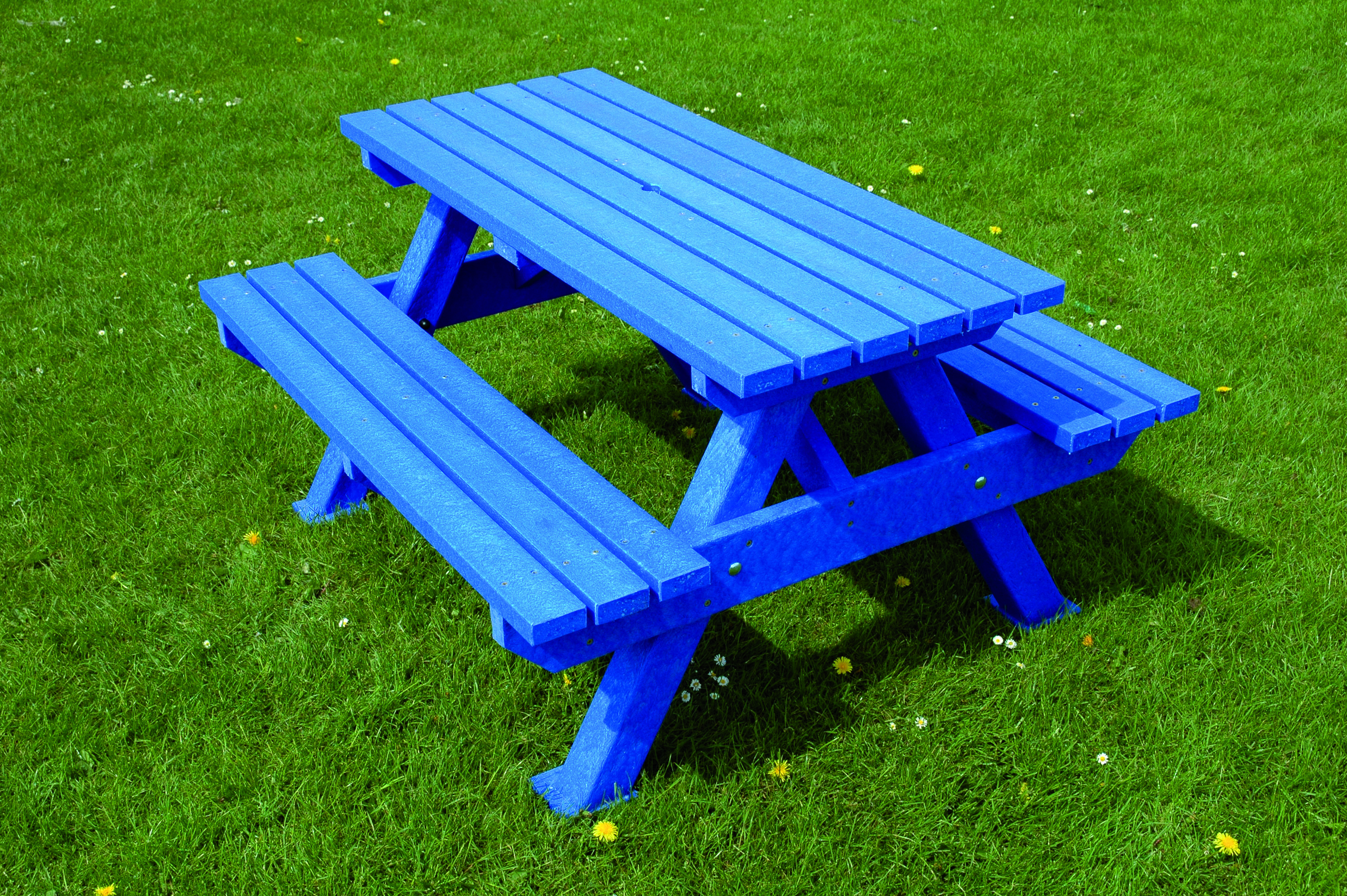 Heavyduty Picnicbench Blue Available From Procter Street Furniture At Https Www Procterstreetfurniture C Picnic Bench Picnic Table Plastic Picnic Tables