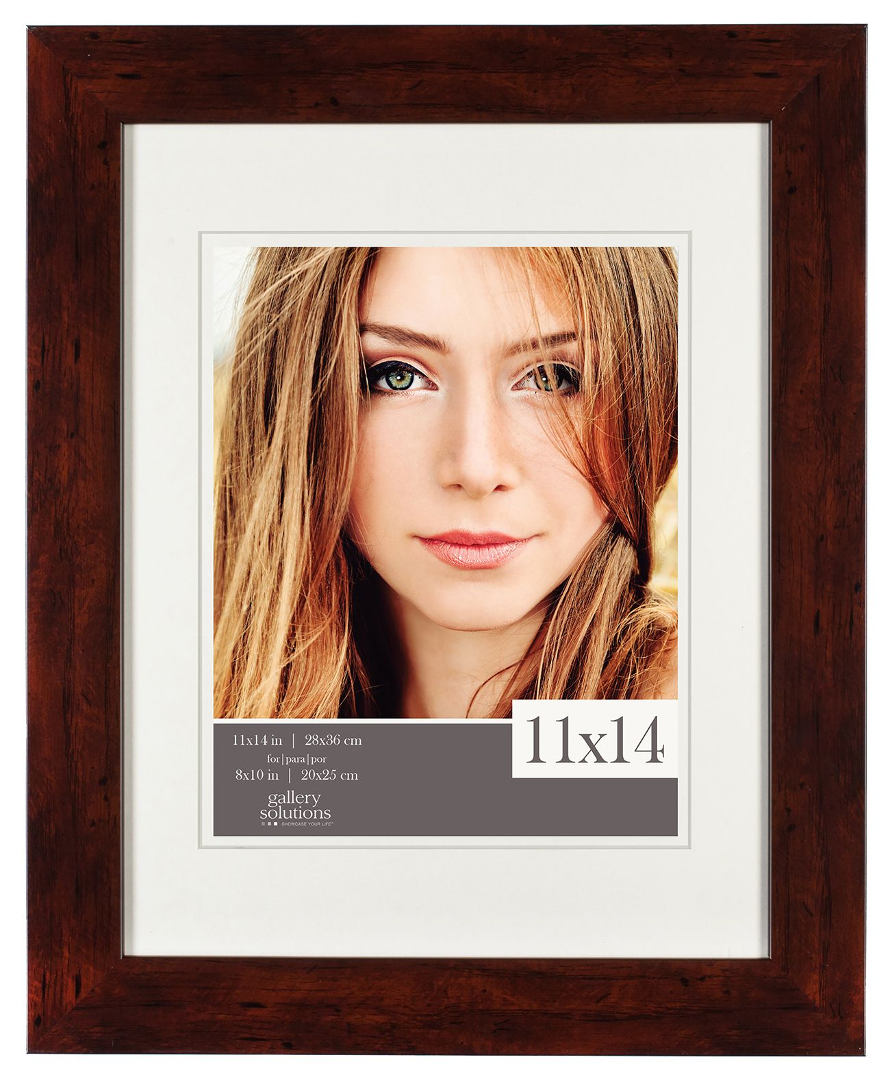 Gallery Solutions 11X14 Flat Walnut Frame, Matted To 8X10, Beige & Tan