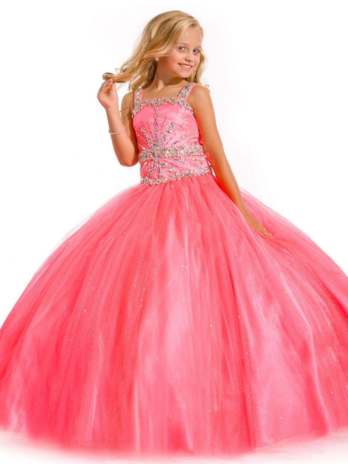 Taffeta Pink Ball Gown Girls Pageant Dress | Flower Girl Dresses Pageant Dresses Girls Formal ...