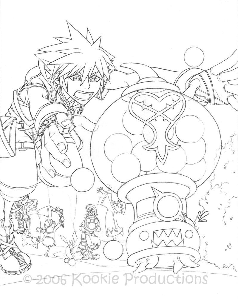 KH2 - Catch\'em Coloring Page by Nijuuni on DeviantArt | Anime ...