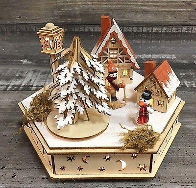 LED 3D  Weihnachtsdorf Spieluhr Weihnachtsdeko Holz Markt Groß