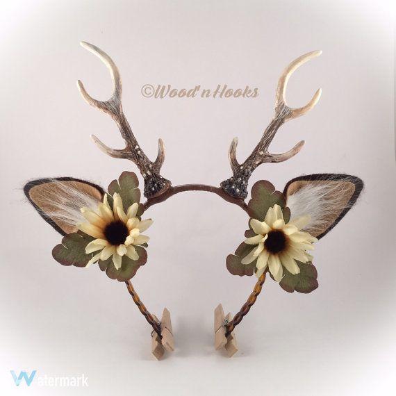 deer antler headband flower crown horns christmas von. Black Bedroom Furniture Sets. Home Design Ideas