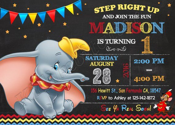 Baby Dumbo Invitation Baby Dumbo Birthday Baby Dumbo Party