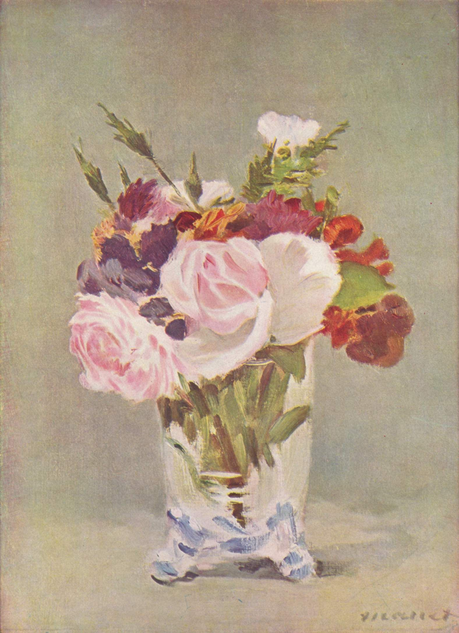 Carnations and Clematis in a Crystal Vase by Manet Giclee Repro on Canvas