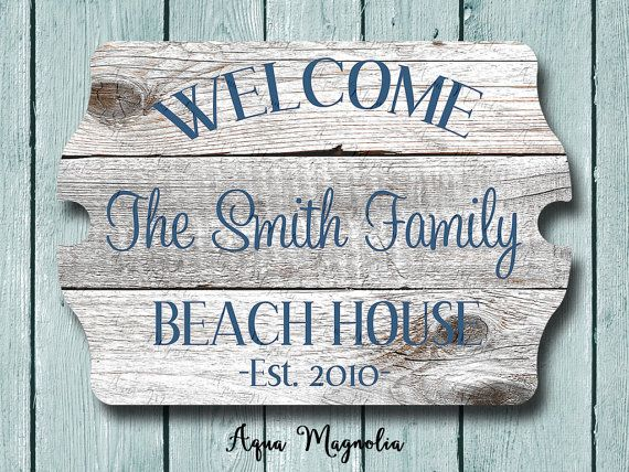 Custom House Sign Personalized House Sign Welcome Sign Beach