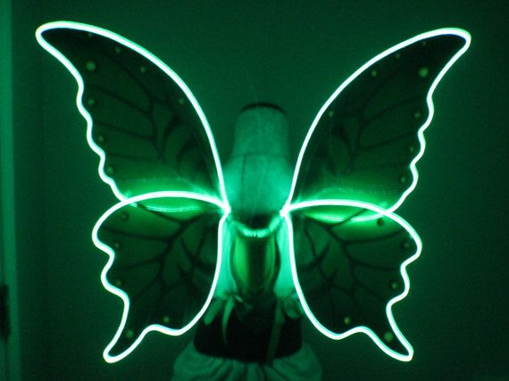 Green Absinthe Fairy Wings With Green Led El Light Wire Green Led Blue Led Lights Wings