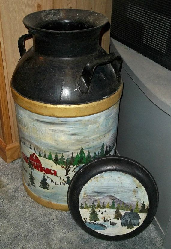Large Vintage Milk Can With Vintage Painting By Phils4winds 80 00 Vintage Milk Can Milk Cans Old Milk Cans