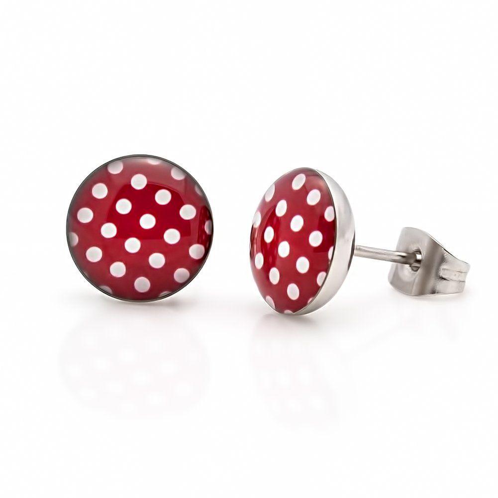 "Ohrringe Ohrstecker Modeschmuck ""Polka Dots"" Farbe: Rot Weiß {Modell 3}"