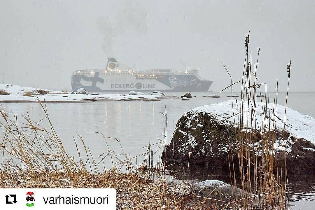 Helsingissä näyttää taas hieman talvisemmalta. 😊❄ #msfinlandia to #tallinn #tallinna #talvi  #Repost @varhaismuori ・・・ Lauttasaari ja Tallinnanlaiva. ⛴ #tallinnanlaiva #lauttasaari #varhaismuorijameri #eckeröline #balticsea #helsinki #winter