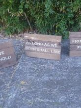 Rustic Timber Signs with lines from Vows