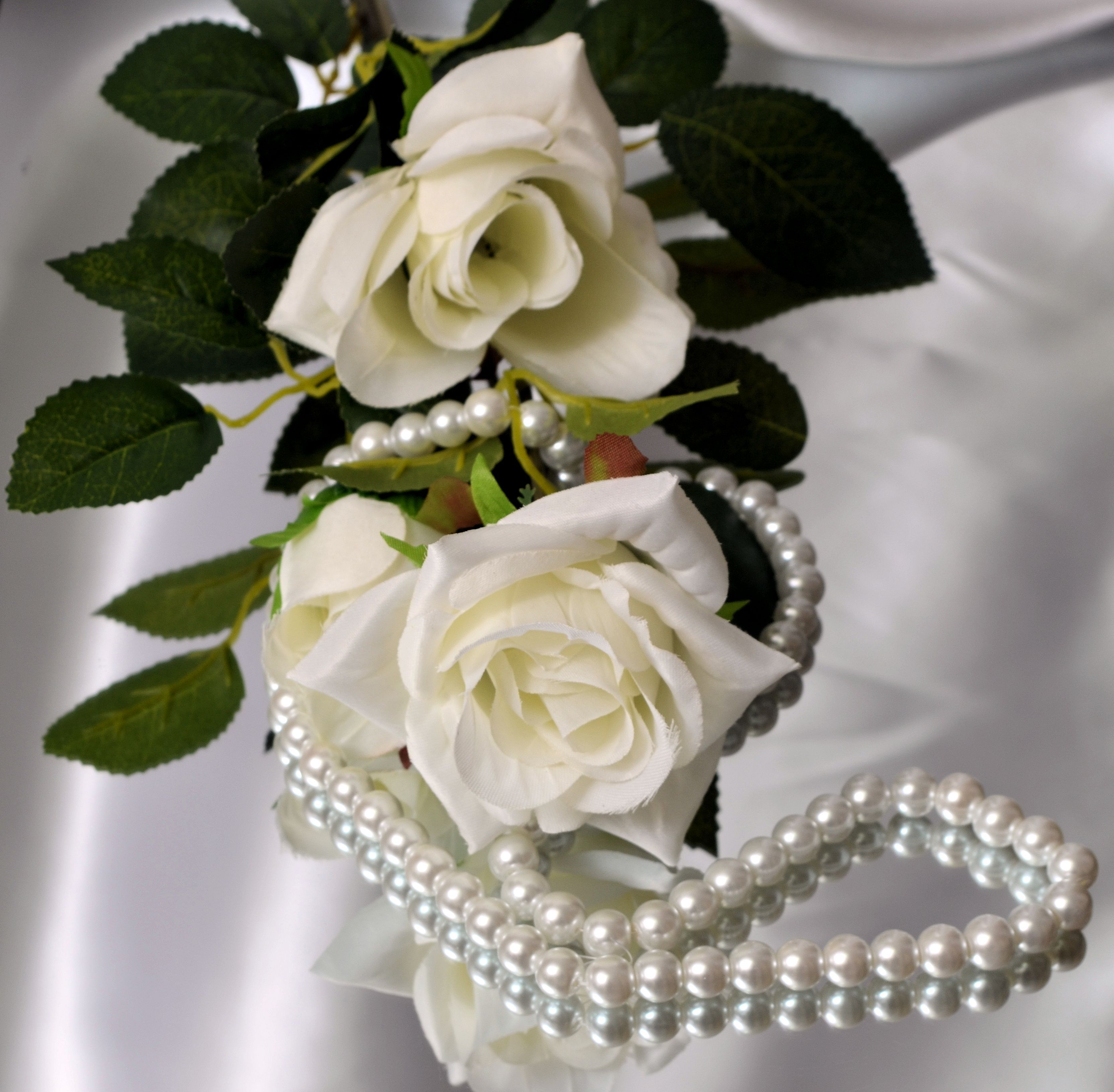 Shot in my studio Roses,pearls and satin
