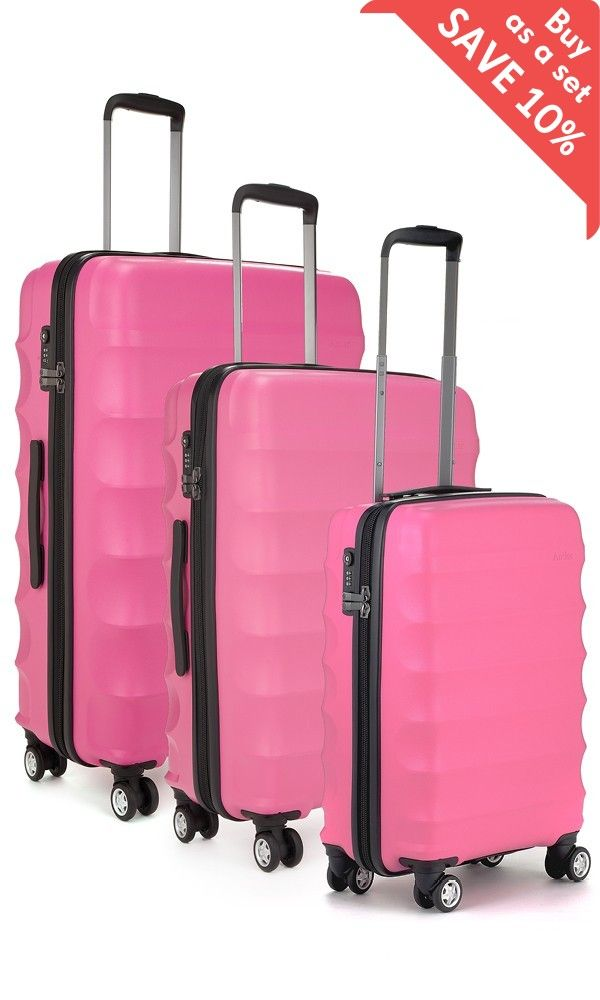 Juno 3 Piece Suitcase Set Pink   Hard Suitcase   Antler UK ...