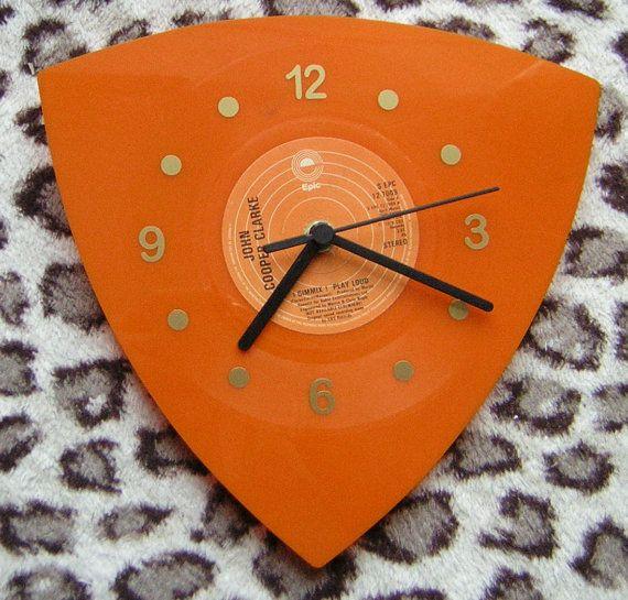 Gimmix Orange Vinyl Wall Clock by Klicknc on Etsy