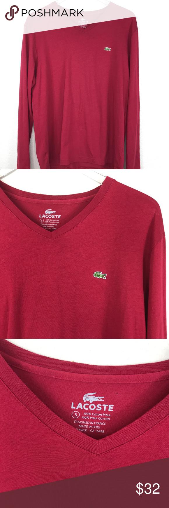 dd502f54 Lacoste Long Sleeve V-neck Cotton Jersey T-shirt L Lacoste Mens ...