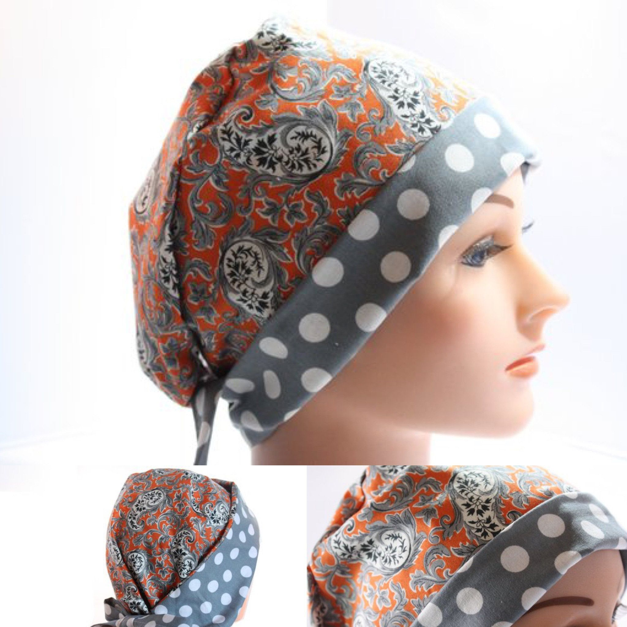 Scrub Hat Surgical Scrub Cap Chef Flirty Front Fold Pixie Or