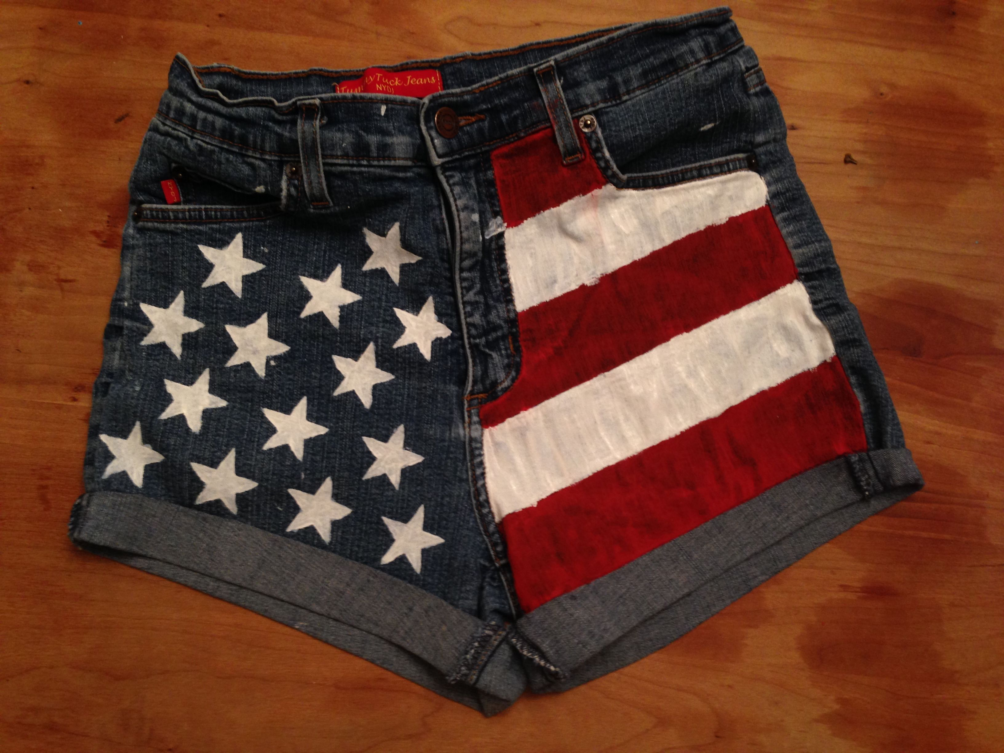 Hand-painted American flag  highwaisted shorts