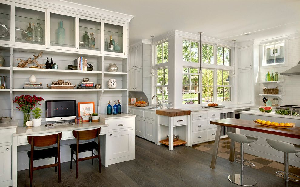 Butcher Block Desk Kitchen Farmhouse With Built In Desk Butcher Delectable Kitchen Desk Design Decorating Inspiration