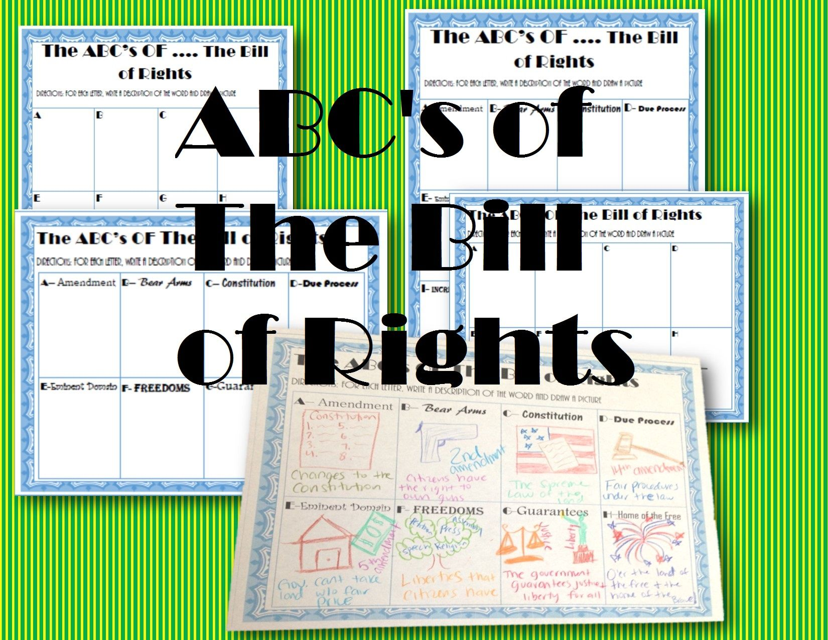 Abc S Of The Bill Of Rights Worksheet Civics Amp Government