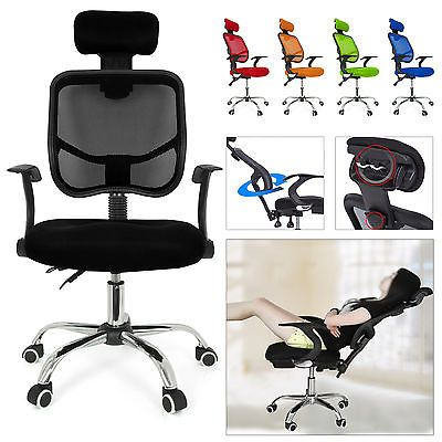 Seat Height Adjustment Office Computer Desk Chair Chrome Mesh Seat Ventilate UK