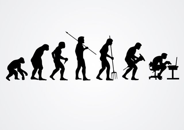 Evolution Of Human Work Silhouettes Chair Computer