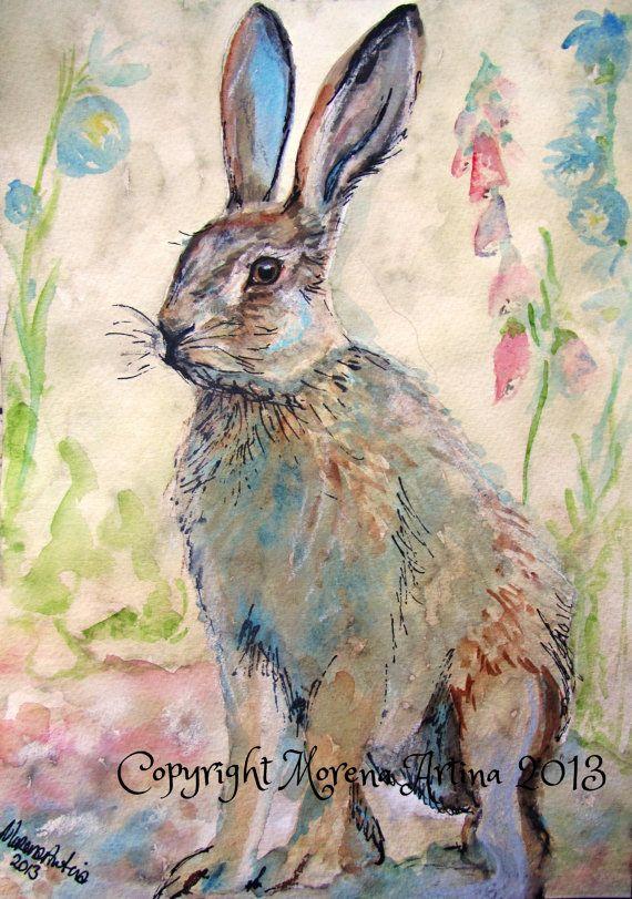 Hare Print A4 Shy Hare