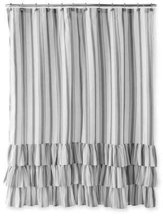 Better Homes Gardens Striped Ruffle Shower Curtain 72 X 72 Walmart Com In 2020 Ruffle Shower Curtains Farmhouse Shower Curtain Curtains