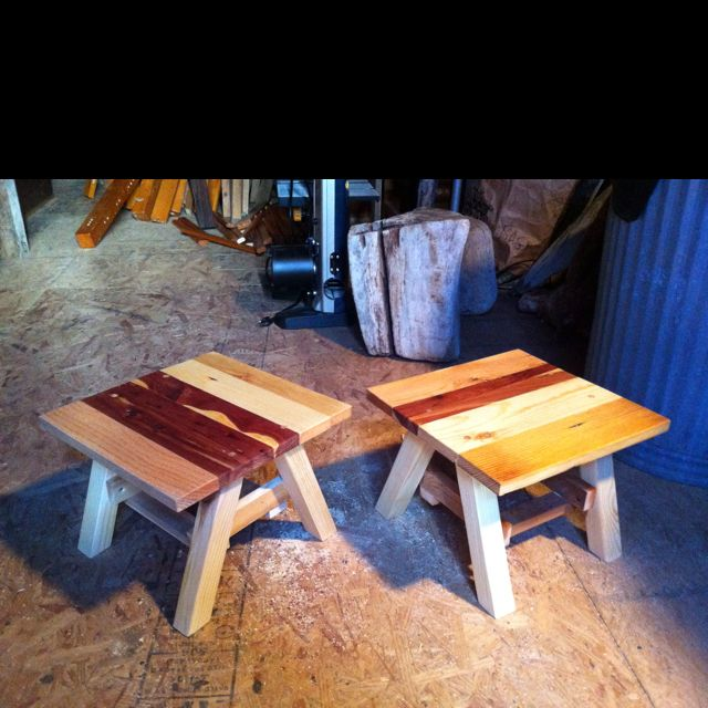 Reclaimed wood gardening stools by G Gallery OKC. - Reclaimed Wood Gardening Stools By G Gallery OKC.. Wood Design