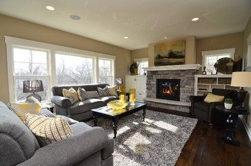Gray And Yellow Living Room  Highmark Builders