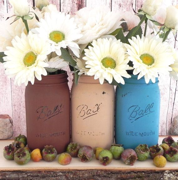 shabby chic mason jars for fall wedding decor fall by lavagifts party pinterest deco. Black Bedroom Furniture Sets. Home Design Ideas