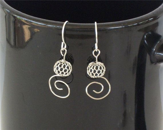Spiral Earrings Black and Silver Swirl Wire by OneStitchDesigns, $8.00