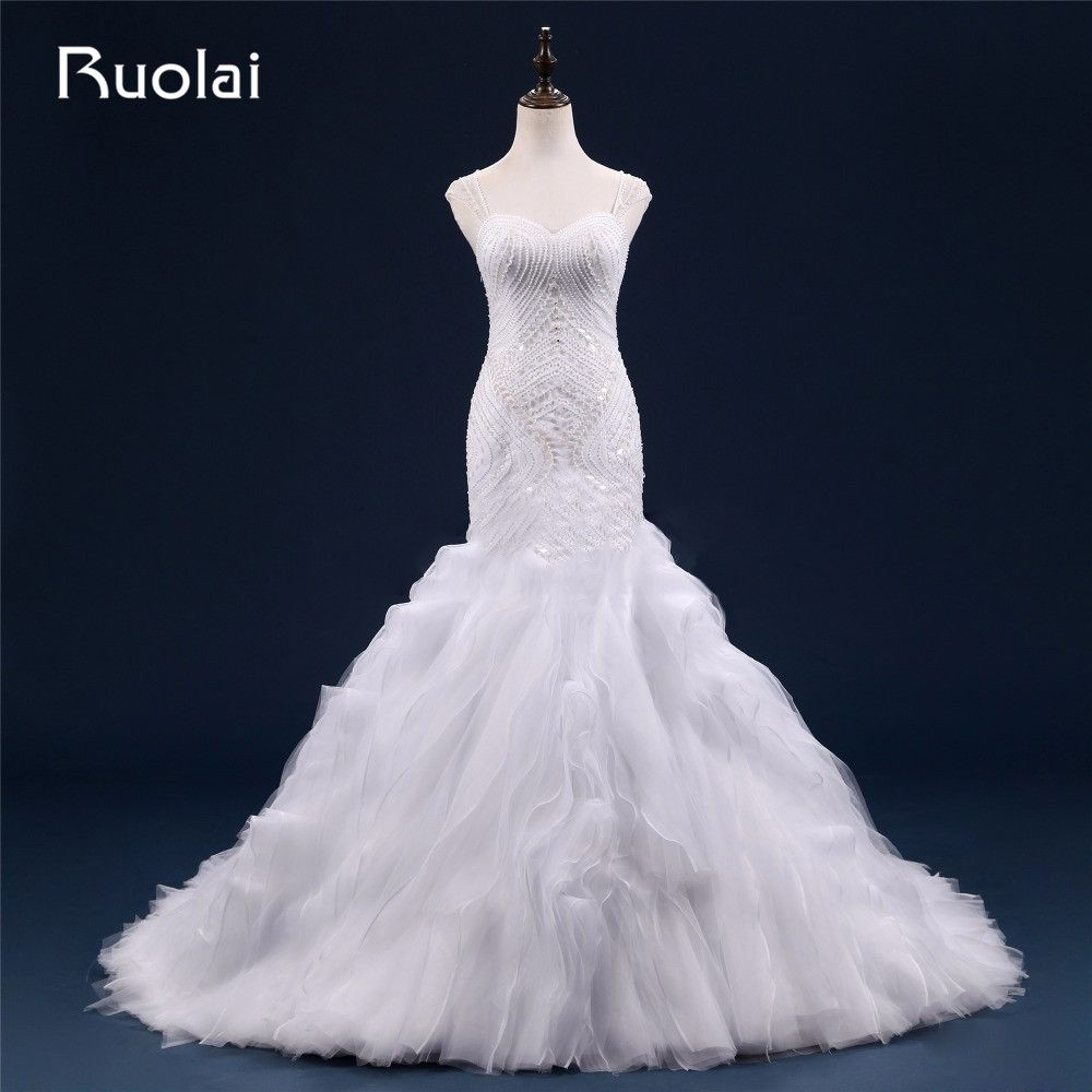 Mermaid ruffle wedding dress  Sexy Heavy Beads Real Sweetheart Straps Tulle Mermaid Wedding