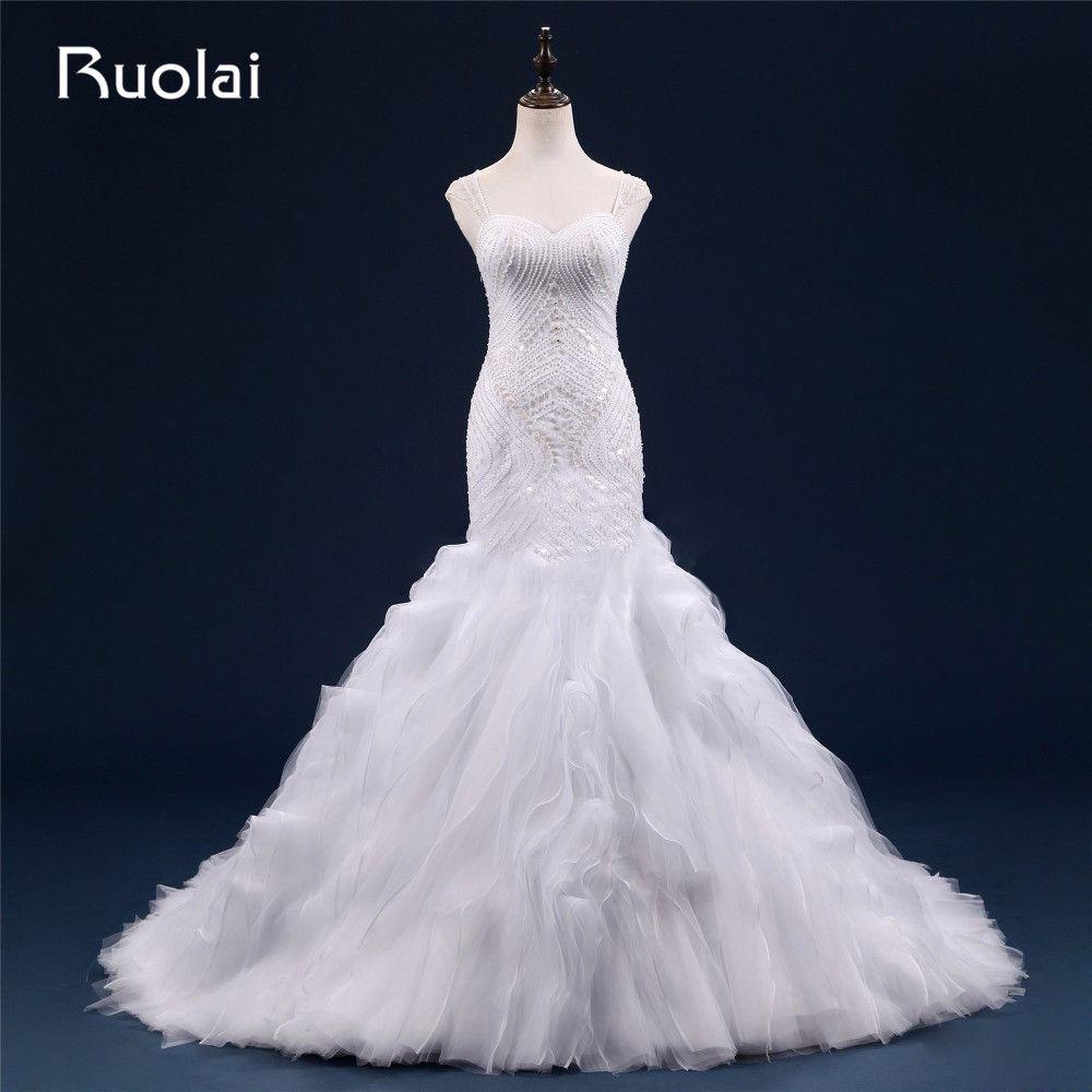 Tulle mermaid wedding dress  Sexy Heavy Beads Real Sweetheart Straps Tulle Mermaid Wedding